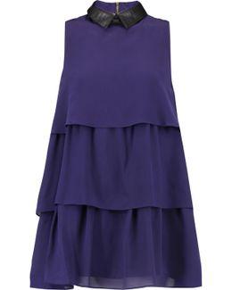 Tiered Washed-silk Mini Dress