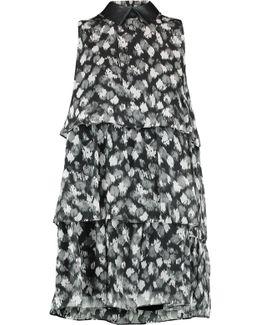 Faux Leather-trimmed Layered Printed Silk-chiffon Mini Dress