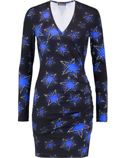 Ruched Printed Stretch-jersey Mini Dress