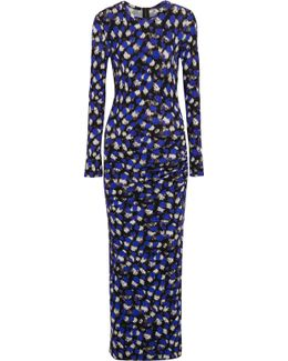 Gathered Printed Georgette Maxi Dress