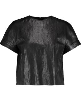 Cropped Faux Leather Top