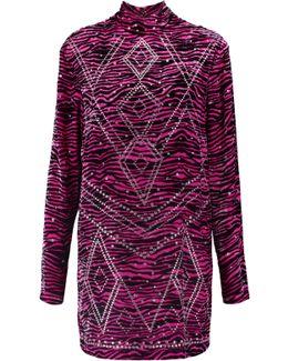 Studded Zebra-print Felt Mini Dress