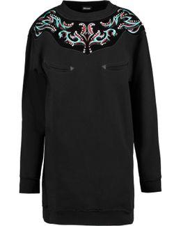 Embellished Velvet-paneled Cotton-blend Mini Dress