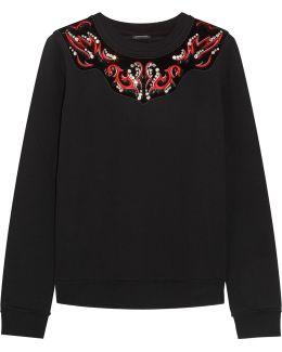 Velvet-paneled Appliquéd Cotton-blend Sweatshirt