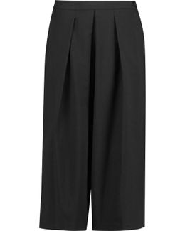 Pleated Wool-blend Culottes