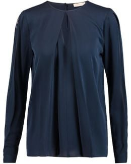 Cutout Silk-satin Blouse