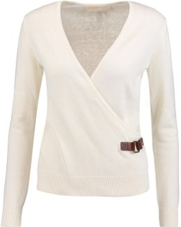 Buckled Wrap-effect Cotton-blend Sweater