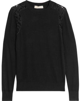 Corded Lace-trimmed Knitted Sweater