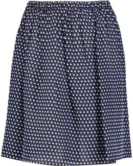 Alston Pleated Printed Silk Skirt