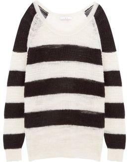 Oversized Striped Linen-blend Sweater