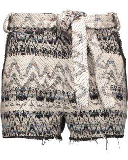Silvery Tie-front Bouclé-knit Shorts