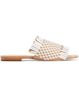 Arietta Fringed Woven Leather Sandals