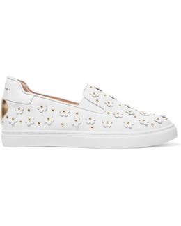 Taylor Embellished Leather Slip-on Sneakers