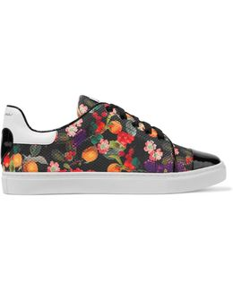 Caelen Leather And Printed Woven Sneakers