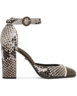 Snake-effect Leather Pumps