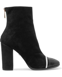 Cracked Leather-paneled Suede Ankle Boots