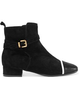 Textured Leather-trimmed Suede Ankle Boots