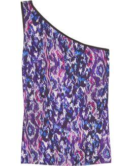 One-shoulder Printed Satin Top