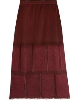 Frayed Paneled Knitted Skirt
