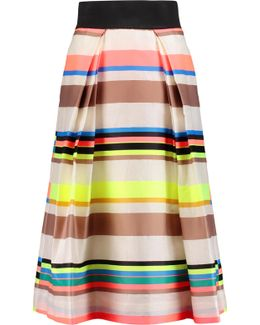 Katie Pleated Striped Sateen Midi Skirt