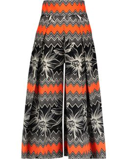 Pleated Printed Cotton-blend Culottes