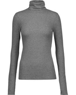 Centro Ribbed Stretch-cotton Turtleneck Sweater