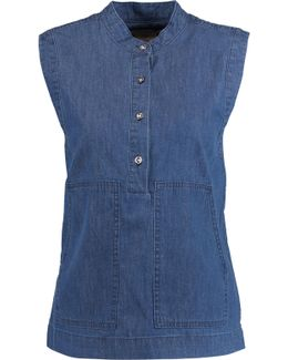 Cotton And Silk-blend Chambray Top