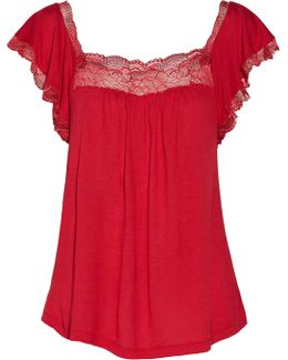 Cassandra Lace-trimmed Stretch-jersey Pajama Top