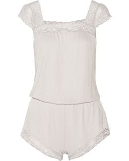 Cecilia Lace-trimmed Stretch-jersey Playsuit