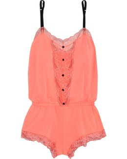 Teddy Lace-trimmed Stretch-jersey Playsuit