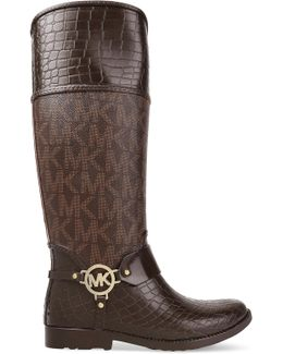 Paneled Croc-effect And Printed Textured-leather Boots