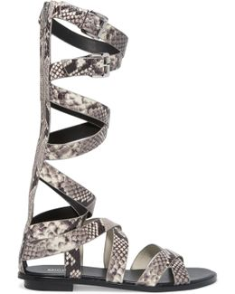 Darby Snake-effect Leather Gladiator Sandals