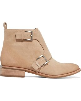 Adams Monk Buckled Suede Ankle Boots