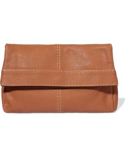 Hutton Textured-leather Clutch