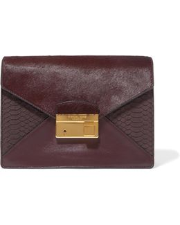 Calf Hair, Snake-effect Leather And Leather Clutch