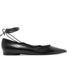 Kallie Lace-up Leather Point-toe Flats