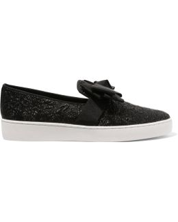 Val Bow-embellished Metallic Cloqué Slip-on Sneakers