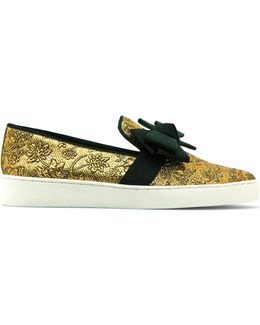 Val Bow-embellished Jacquard Sneakers