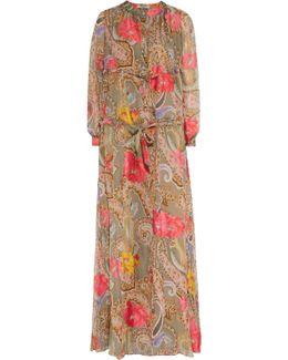 Ruched Printed Silk-chiffon Maxi Dress