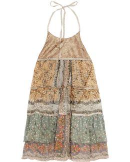 Ava Tiered Printed Silk-chiffon Halterneck Top