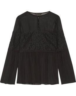 Cotton-blend Corded Lace-paneled Silk Crepe De Chine Blouse