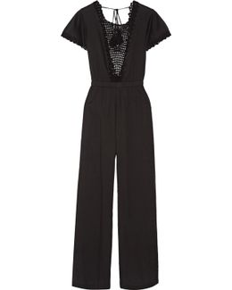 Crochet-paneled Cotton-voile Jumpsuit