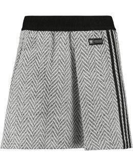 Pleated Herringbone Tweed Mini Skirt