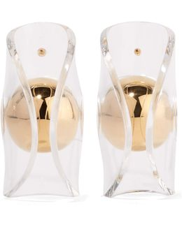Globe Gold-plated Acrylic Earrings