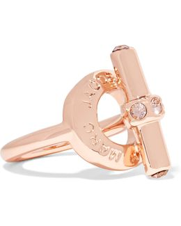 Toggle Rose Gold-tone Crystal Ring
