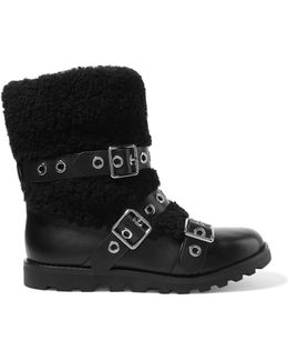 Eyelet-embellished Leather And Shearling Boots