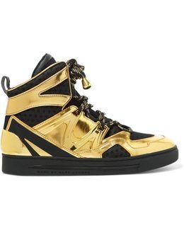 Ninja Mesh-trimmed Metallic Leather High-top Sneakers