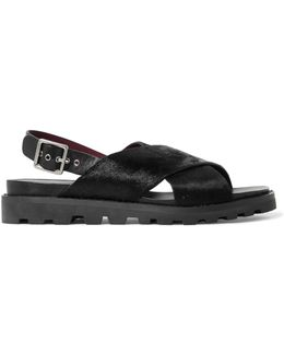 Calf Hair And Leather Sandals