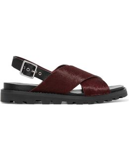 Leather-trimmed Calf Hair Sandals