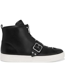 Varick Studded Glossed-leather High-top Sneakers